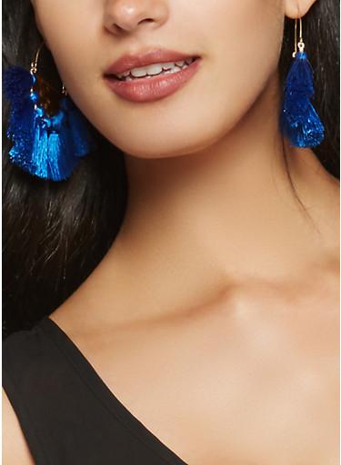 Metallic Tassel Statement Earrings,COBALT,large