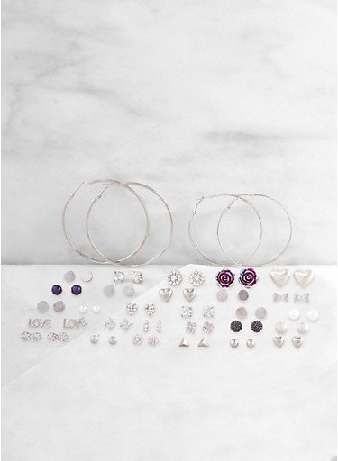 Set of 30 Mixed Stud and Hoop Earrings,SILVER,large