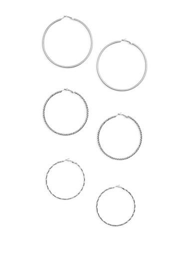 Set of 3 Large Hoop Earrings,SILVER,large