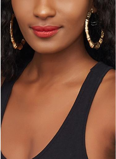 Multi Size Bamboo Hoop Earrings,GOLD,large