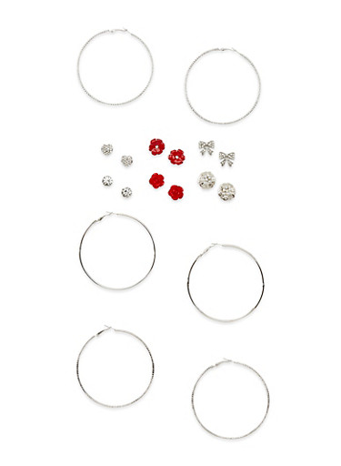 Set of 9 Etched Hoop and Assorted Stud Earrings,SILVER,large