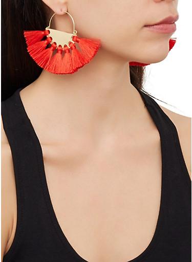 Half Disc Tassel Earrings,RED,large