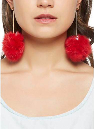 Pom Pom Stick Earrings,RED,large