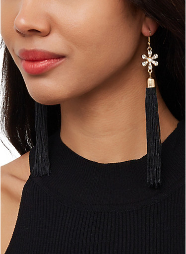 Rhinestone Flower Tassel Drop Earrings,BLACK,large