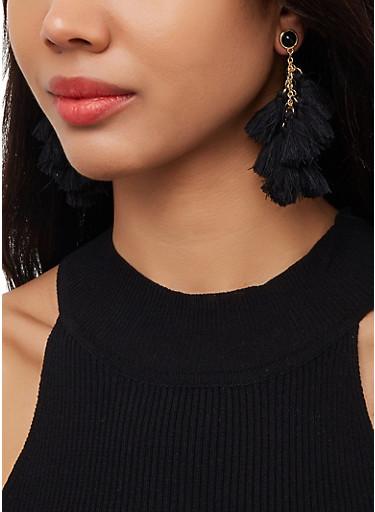 Tassel Chandelier Earrings,BLACK,large