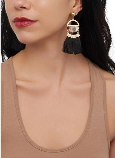 Circular Metallic Fringe Post Back Earrings,BLACK,large