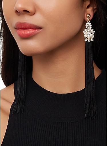 Long Tassel Rhinestone Earrings,BLACK,large