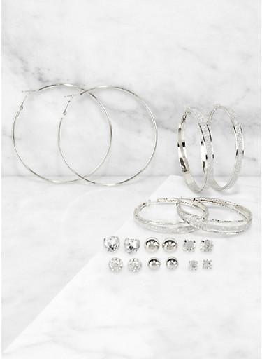 9 Stud and Hoop Earrings Set,SILVER,large