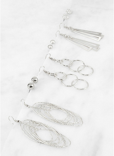 6 Assorted Drop and Stud Earrings,SILVER,large