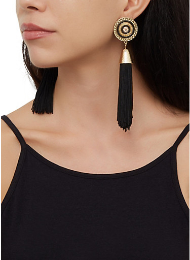 Beaded Metallic Tassel Drop Earrings,BLACK,large