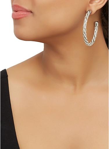 Rhinestone Open Hoop Earrings,SILVER,large