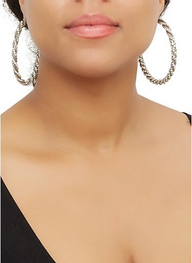 Rhinestone Twist Hoop Earrings,SILVER,large