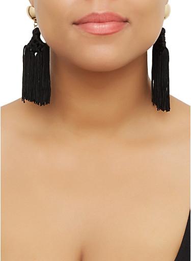 Woven Multi Tassel Drop Earrings,BLACK,large
