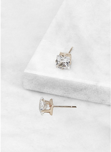 Square 6 MM Cubic Zirconia Earrings,SILVER,large
