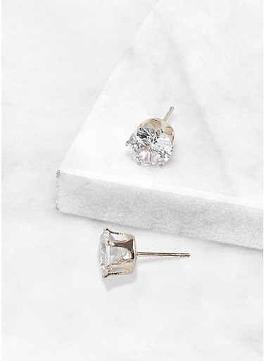 Round 8 MM Cubic Zirconia Earrings,SILVER,large