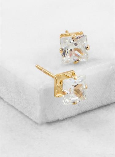 Square Cubic Zirconia Stud Earrings | Tuggl