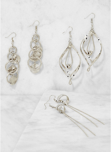 Set of 3 Metallic Drop Earrings,SILVER,large
