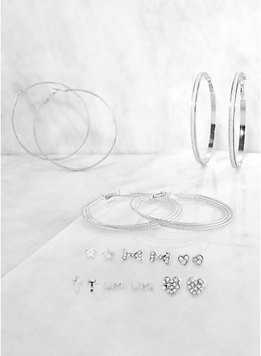 Rhinestone Bow Stud and Glitter Hoop Earrings Set,SILVER,large