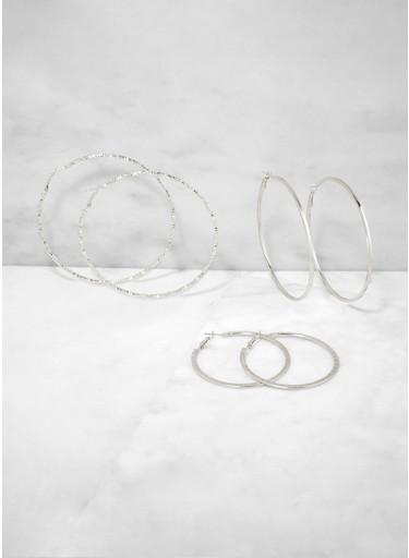 Textured Metallic Multi Size Hoop Earring Trio,SILVER,large