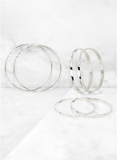 Metallic Textured Hoop Earring Trio,SILVER,large