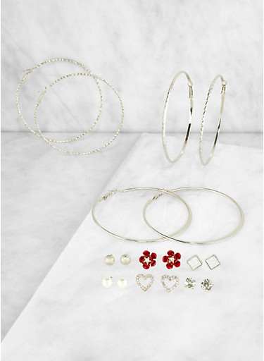 Set of 9 Assorted Hoop and Stud Earrings | 3122072691482,SILVER,large