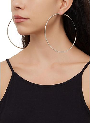 4 Oversized Hoop Earrings Set,SILVER,large