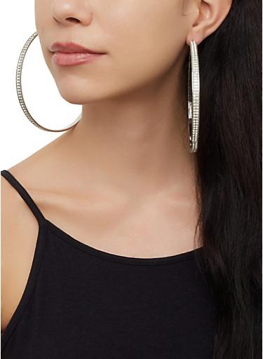 4 Oversized Hoop Earrings,SILVER,large