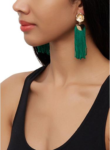 Flower Fringe Drop Earrings,GREEN,large