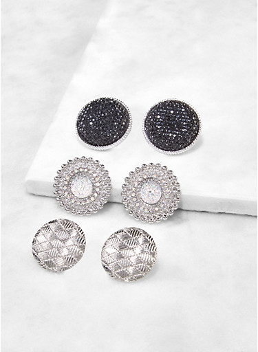 Textured Metallic Disc Earrings,SILVER,large