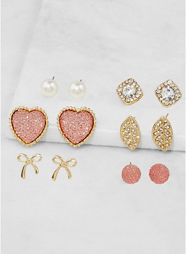 Assorted Faux Pearl Heart Stud Earrings Set,BLUSH,large