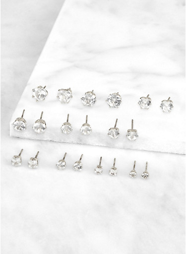 Set of 10 Assorted Size Cubic Zirconia Stud Earrings,SILVER,large