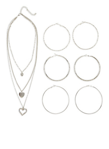 Charm Necklace with Large Hoop Earring Trio,SILVER,large