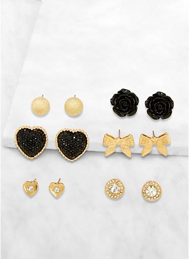 Set of 6 Rhinestone Stud Earrings | 3122072696301,BLACK,large
