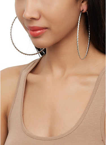 Large Metallic Hoop Earring Trio | 3122072696429,SILVER,large