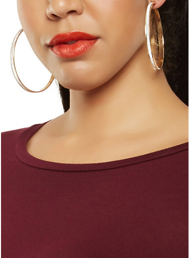 Large Hoop Earrings Trio,GOLD,large