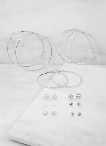 Assorted Stud and Rhinestone Hoop Earrings,SILVER,large