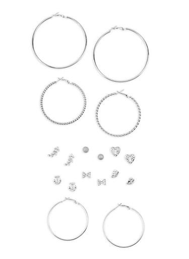 Rhinestone Stud and Hoop Earrings Set,SILVER,large