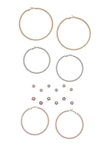 Tri Tone Hoop and Stud Earrings Set,SILVER,large