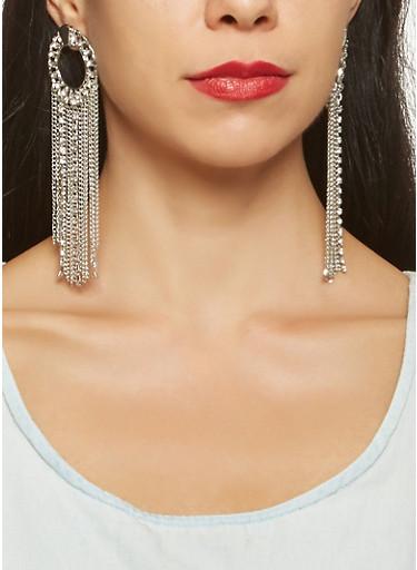Rhinestone Chain Fringe Earrings,SILVER,large