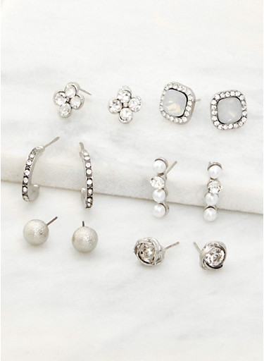 Set of 6 Rhinestone and Faux Pearl Earrings,SILVER,large