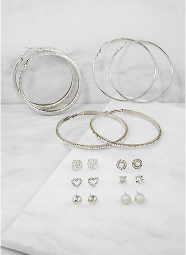 Assorted Hoop and Stud Earrings Set | 3122072698252,SILVER,large