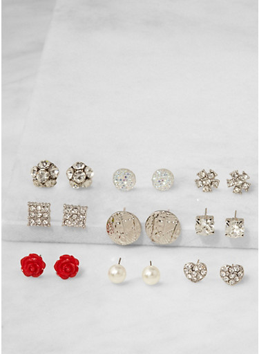 Assorted Set of 9 Stud Earrings,SILVER,large