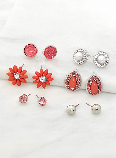 Assorted Rhinestone Stud Earrings Set,CORAL,large