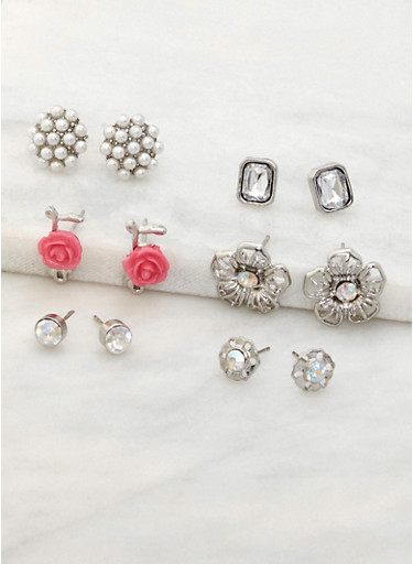 Set of 6 Rhinestone and Beaded Stud Earrings,FUCHSIA,large
