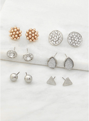 Assorted Set of 6 Stud Earrings,SILVER,large