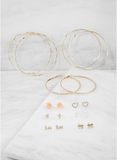 Set of 9 Assorted Stud and Hoop Earrings,GOLD,large