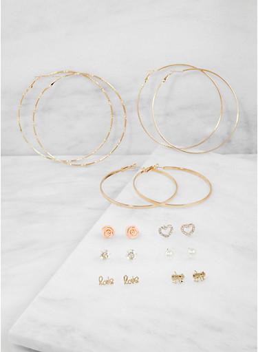 Set of 9 Assorted Stud and Hoop Earrings - 3122072698730