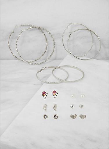 Rhinestone Heart Stud and Hoop Earrings,SILVER,large
