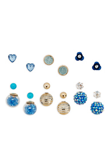 Assorted Stud and Reversible Earrings,GOLD,large