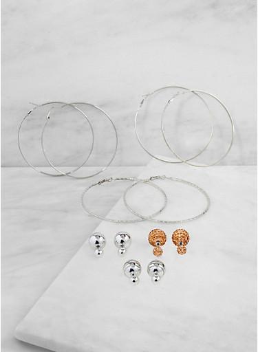 Reversible Studs and Hoop Earrings Set,SILVER,large